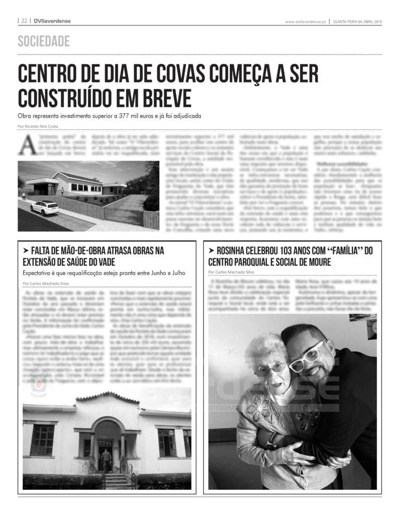 EDIÇÃO IMPRESSA - Centro de dia de Covas começa a ser construído em breve