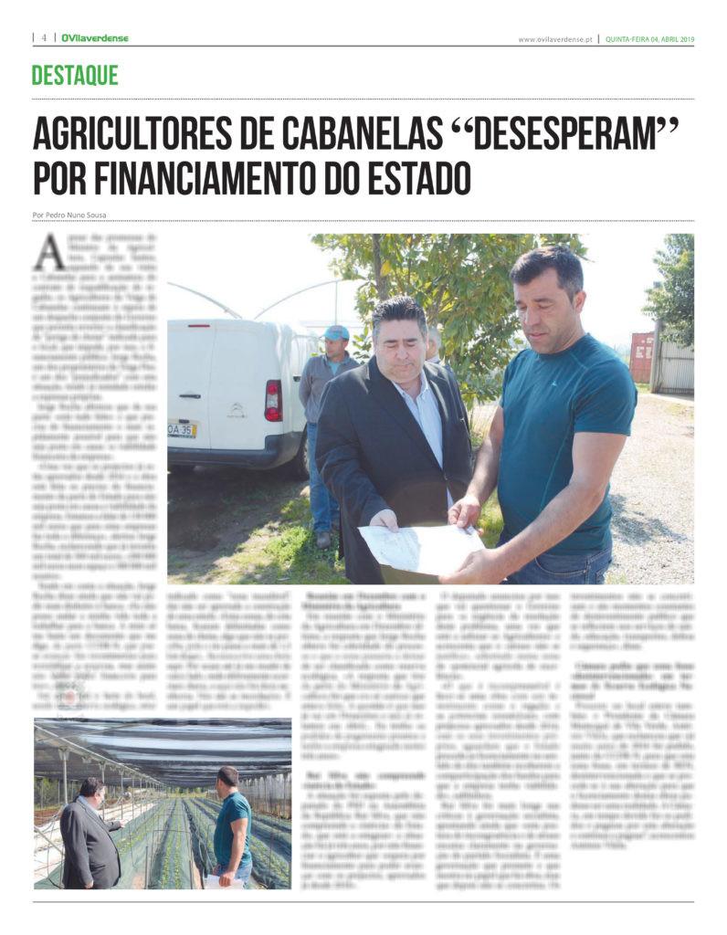 """EDIÇÃO IMPRESSA –  Agricultores de Cabanelas """"desesperam"""" por financiamento do Estado"""