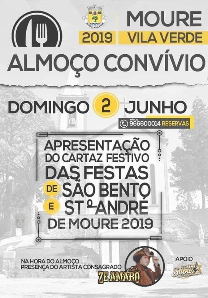 MOURE - Almoço convívio para apresentação do cartaz das Festas de São Bento e Santo André de Moure 2019 este domingo