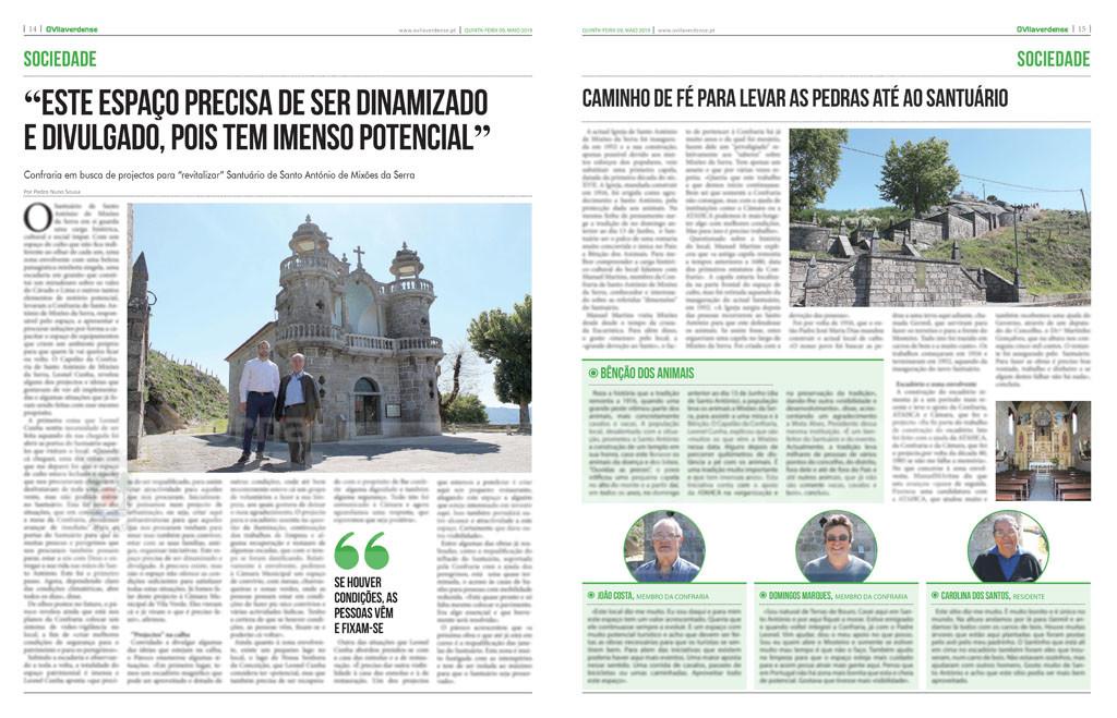 """EDIÇÃO IMPRESSA – Confraria em busca de projectos para """"revitalizar"""" Santuário de Mixões da Serra"""