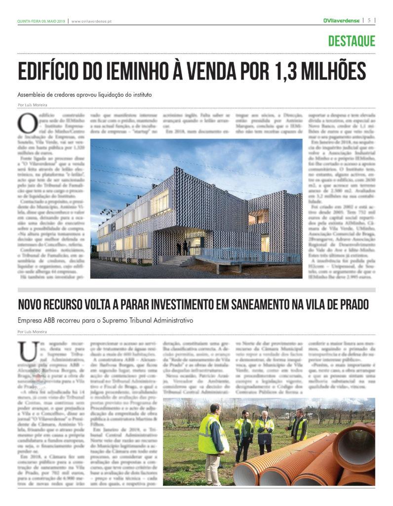 EDIÇÃO IMPRESSA –  Novo recurso volta a parar investimento em saneamento na Vila de Prado