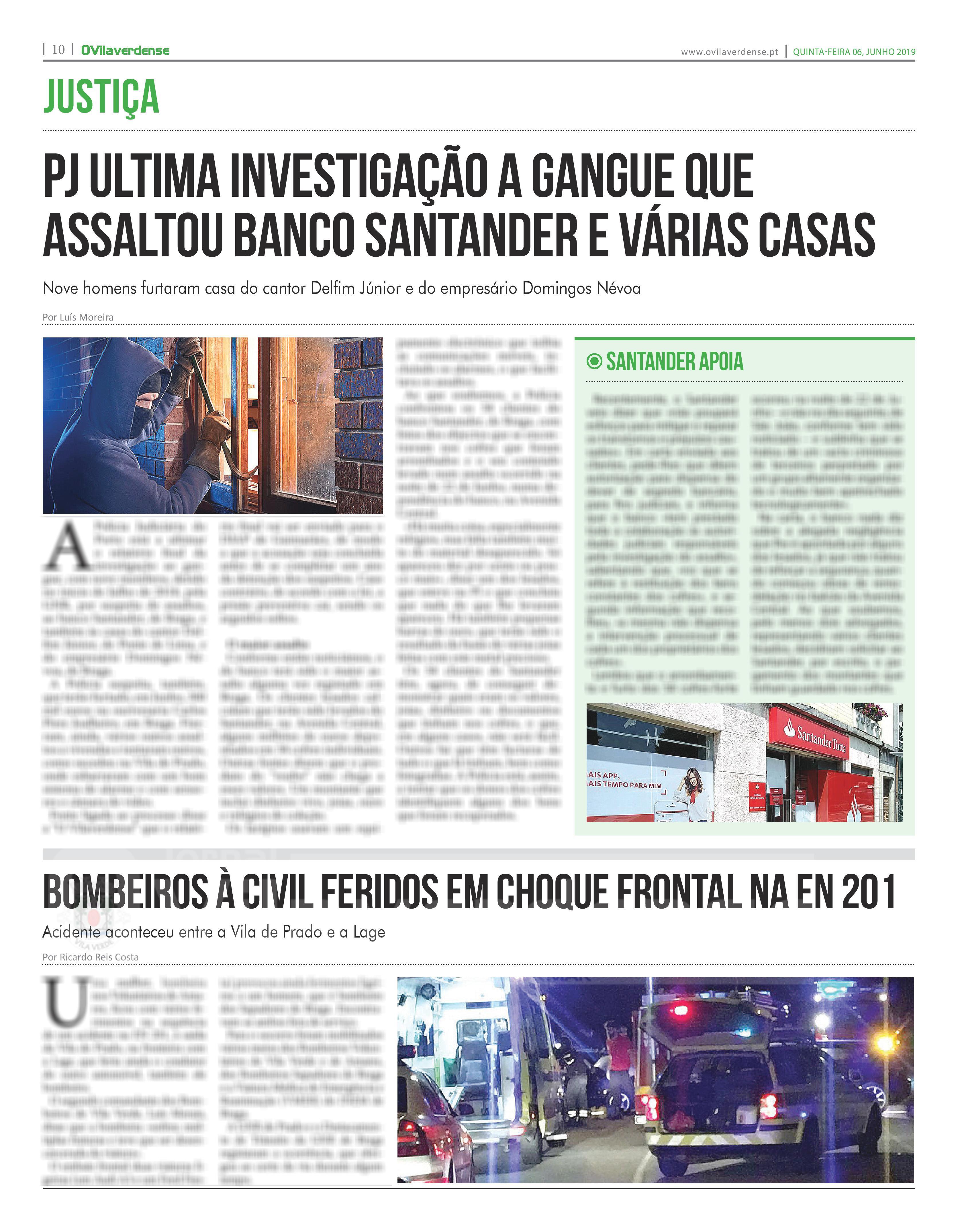 EDIÇÃO IMPRESSA – PJ ultima investigação a gangue que assaltou banco Santander e várias casas