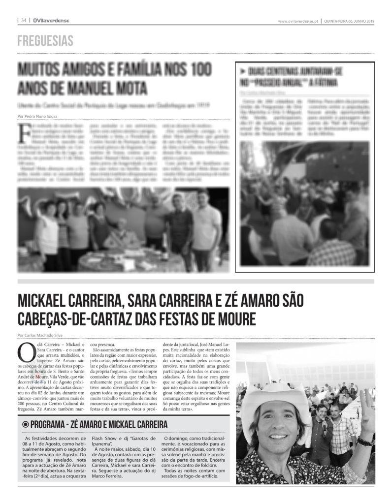 EDIÇÃO IMPRESSA - Mickael Carreira, Sara Carreira e Zé Amaro são cabeças-de-cartaz das Festas de S. Bento e Sto André 2019