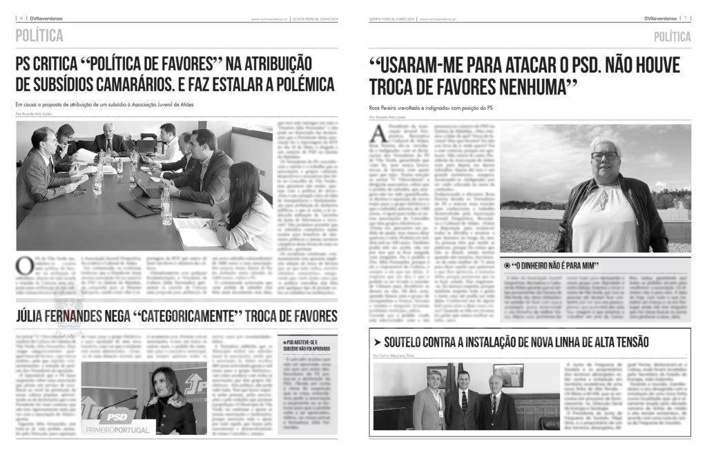 EDIÇÃO IMPRESSA - PS critica «política de favores» na atribuição de subsídios camarários. E faz estalar a polémica