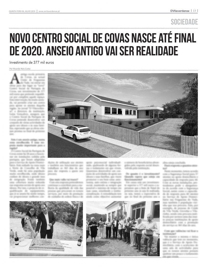 EDIÇÃO IMPRESSA – Novo Centro Social de Covas nasce até final de 2020. Anseio antigo vai ser realidade
