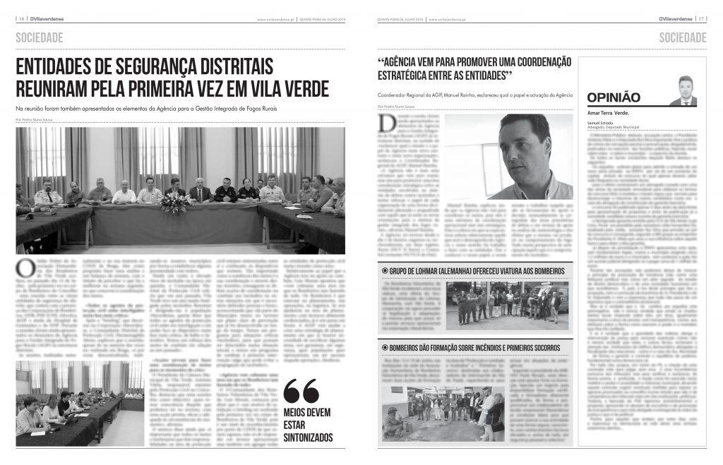 EDIÇÃO IMPRESSA – Entidades de Segurança distritais reuniram pela primeira vez em Vila Verde