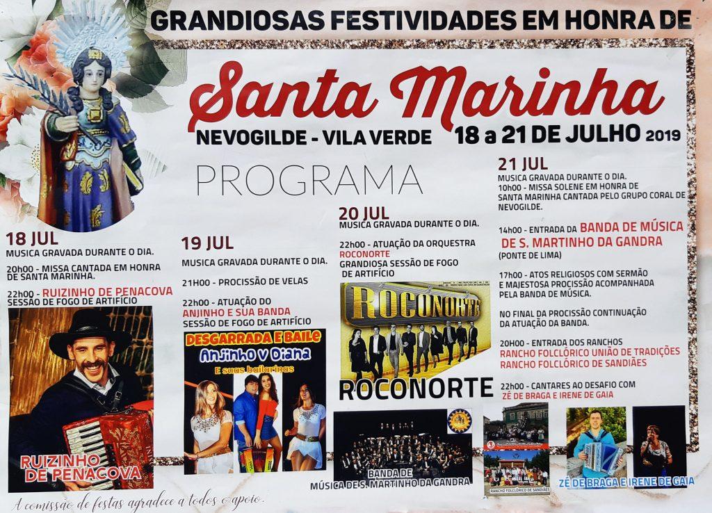 VILA VERDE - Festividades em honra de Santa Marinha em Nevogilde de 18 a 21 de Julho