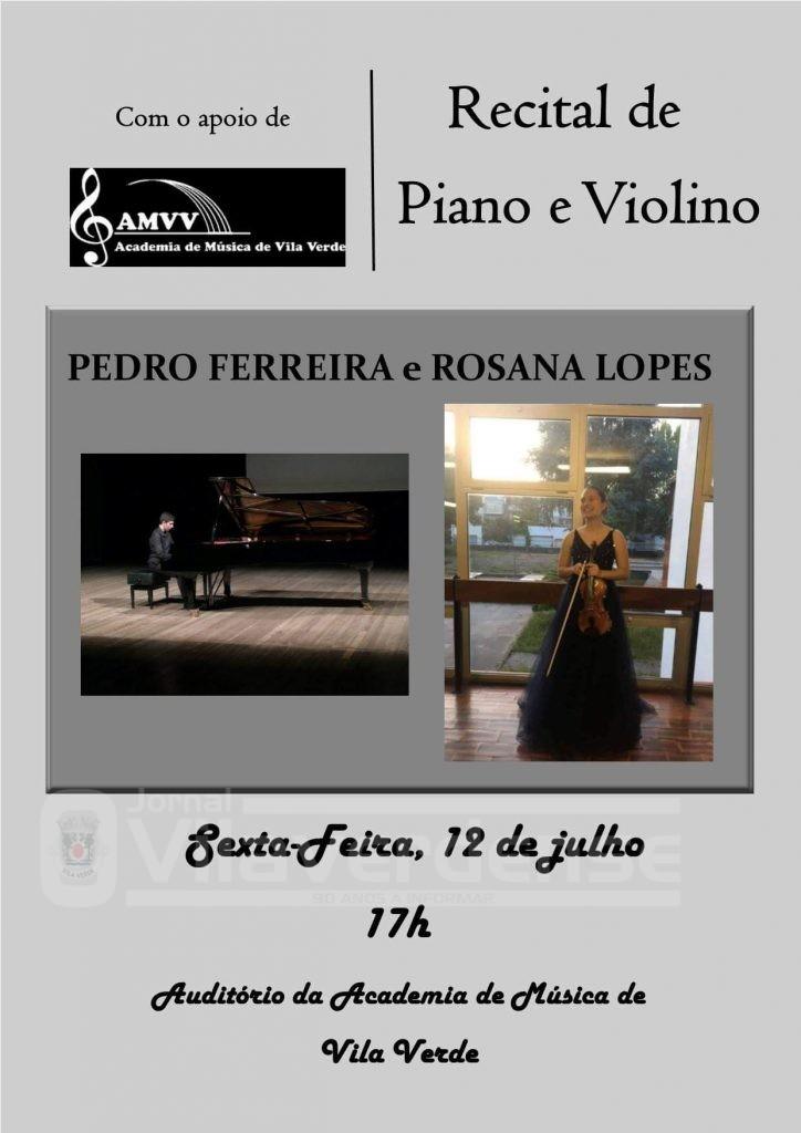 CULTURA - Recital de Piano e Violino esta sexta-feira no Centro de Artes e Cultura de Vila Verde