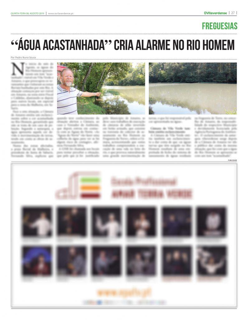 """EDIÇÃO IMPRESSA – """"Água acastanhada"""" cria alarme no Rio Homem"""