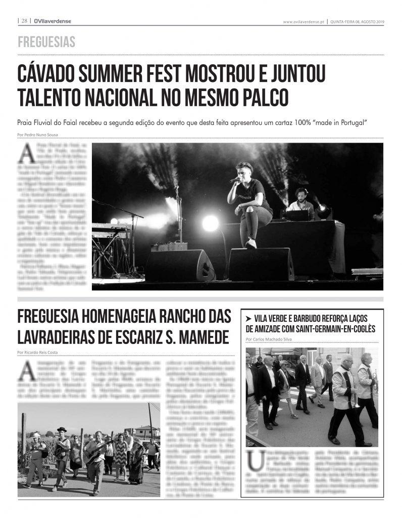 EDIÇÃO IMPRESSA – Cávado Summer Fest mostrou e juntou talento nacional no mesmo palco