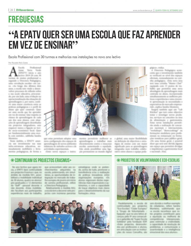 EDIÇÃO IMPRESSA – «A EPATV quer ser uma escola que faz aprender em vez de ensinar»