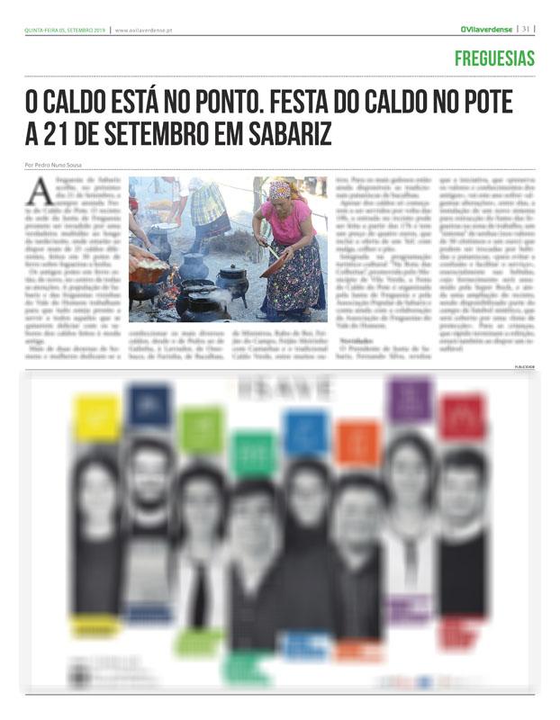 EDIÇÃO IMPRESSA – Sabariz prepara-se para nova edição da Festa do Caldo do Pote