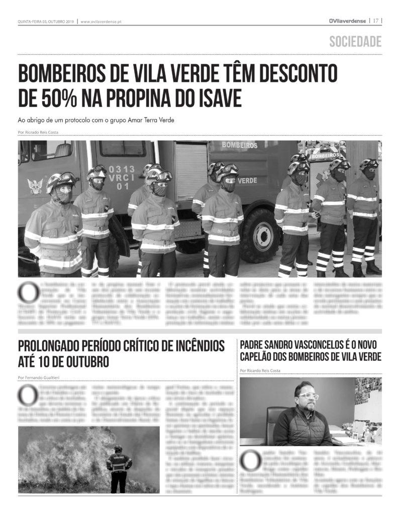 EDIÇÃO IMPRESSA – Bombeiros de Vila Verde têm desconto de 50% na propina do ISAVE