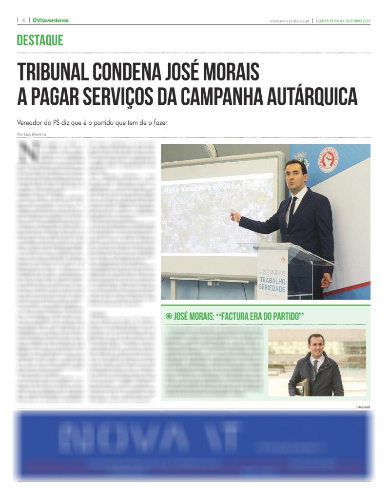 EDIÇÃO IMPRESSA – Tribunal condena José Morais a pagar serviços da campanha autárquica