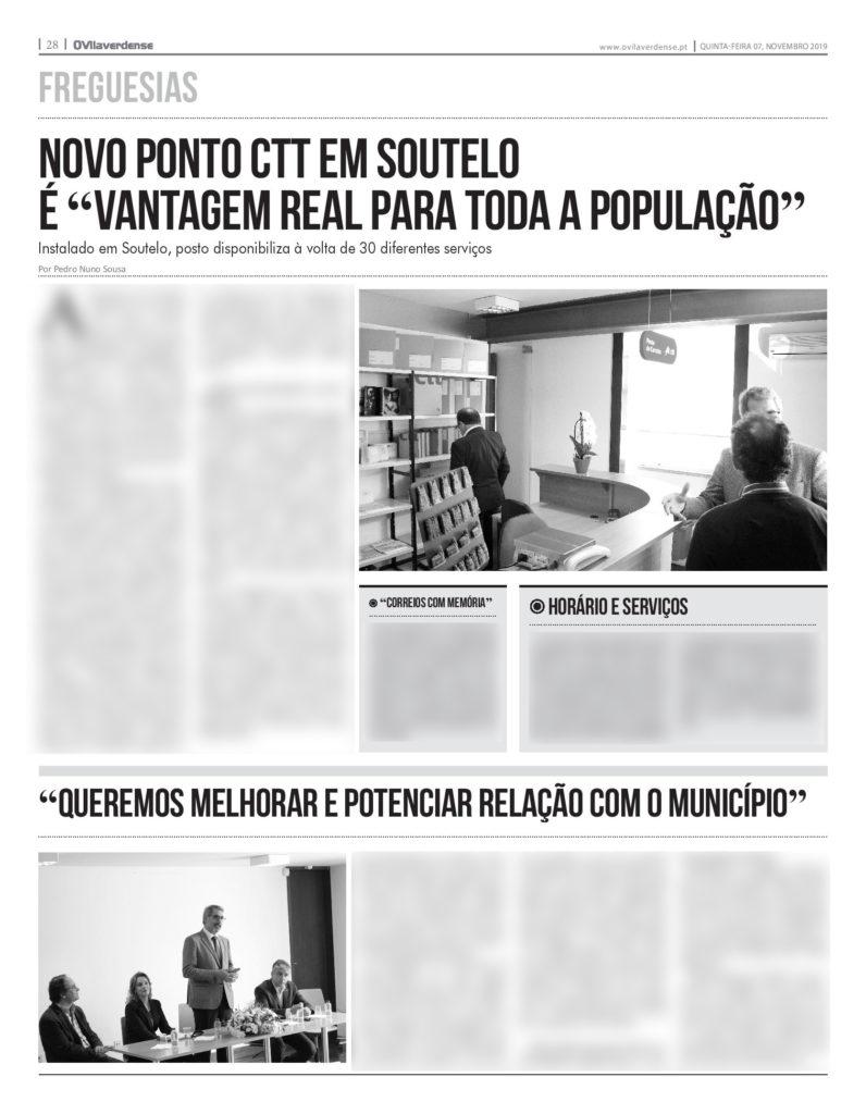 EDIÇÃO IMPRESSA – Novo ponto CTT em Soutelo é «vantagem real para o tecido empresarial mas também para a população»
