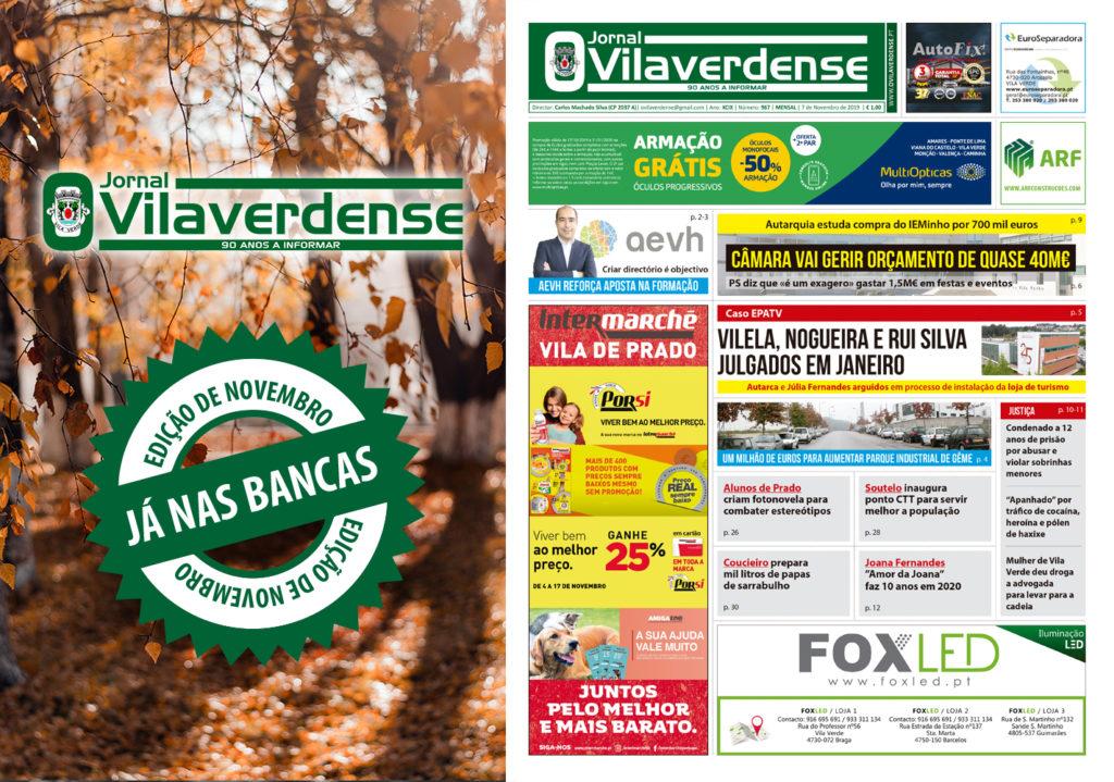 """EDIÇÃO IMPRESSA –Jornal """"O Vilaverdense""""– Novembro 2019 – já nas bancas!"""