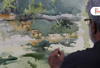 Landscape Painting Demo by Vasudeo Kamath