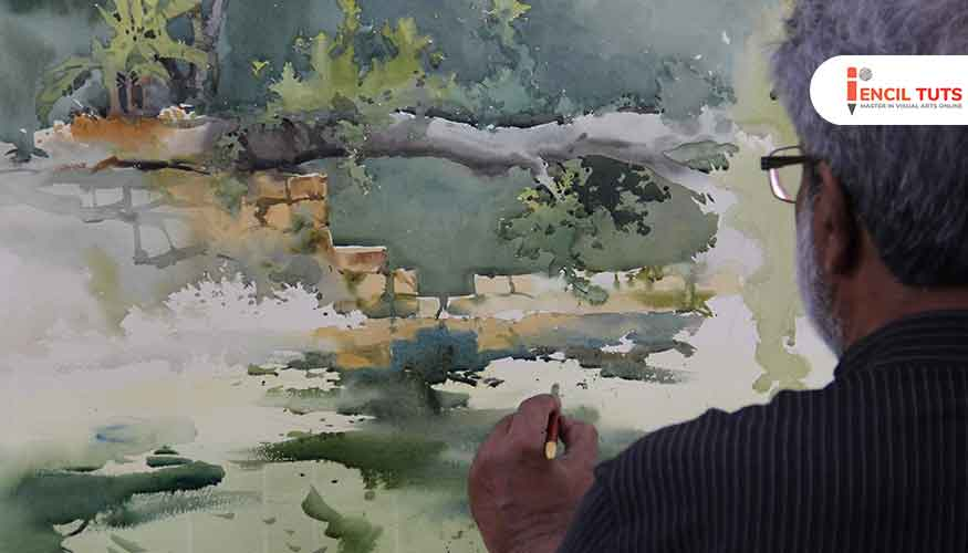 Learn-Landscape-Painting-Demo-by-Shri.Vasudeo-Kamath