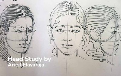 Head Study Drawing by Artist S.Elayaraja