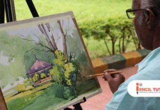 Watercolor Painting Demo by Artist Sadhu Aliyur