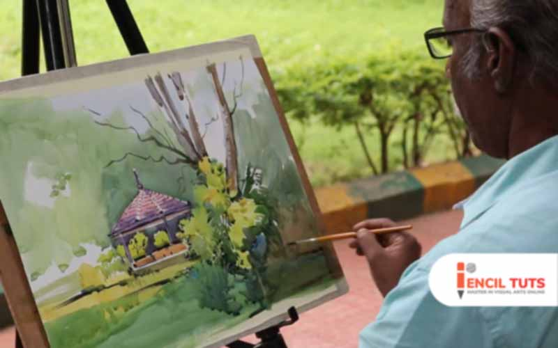 Learn_Outdoor-Watercolor-painting-demo-by-Sadhu-Aliyur
