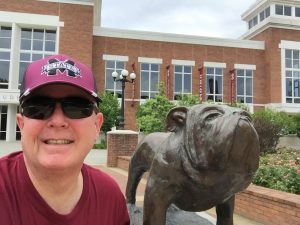 Selfie with Bully outside the Union Building at Mississippi State University. I graduated from MSU in December 1984. Taken late June 2016.