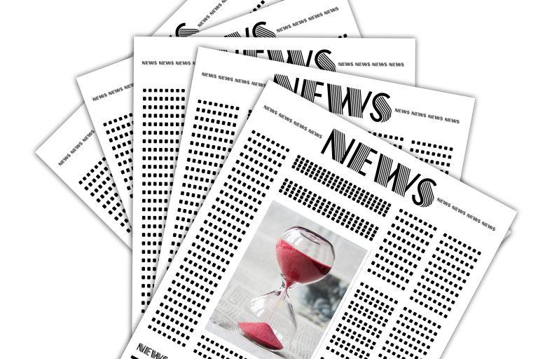 news, newspaper, hourglass