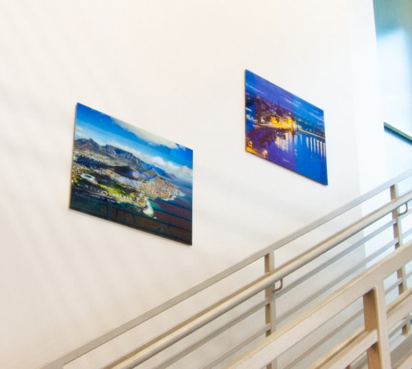 glass prints on a wall (product photo)