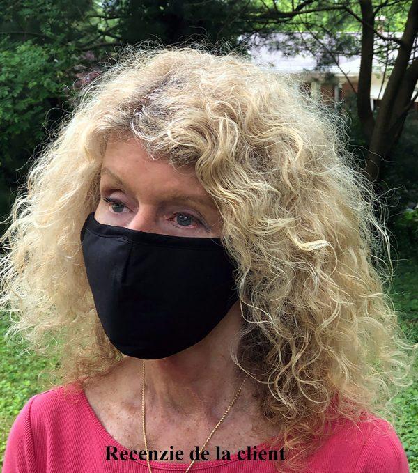Masca din bumbac cu 2 filtre PM 2.5 cu carbon activ reutilizabila civila nemedicala