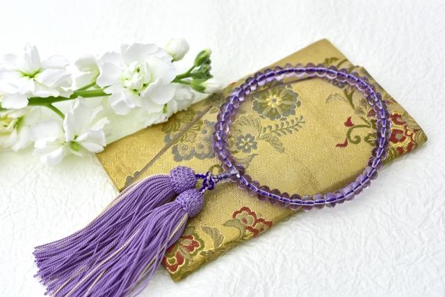 アメジストの数珠と数珠袋