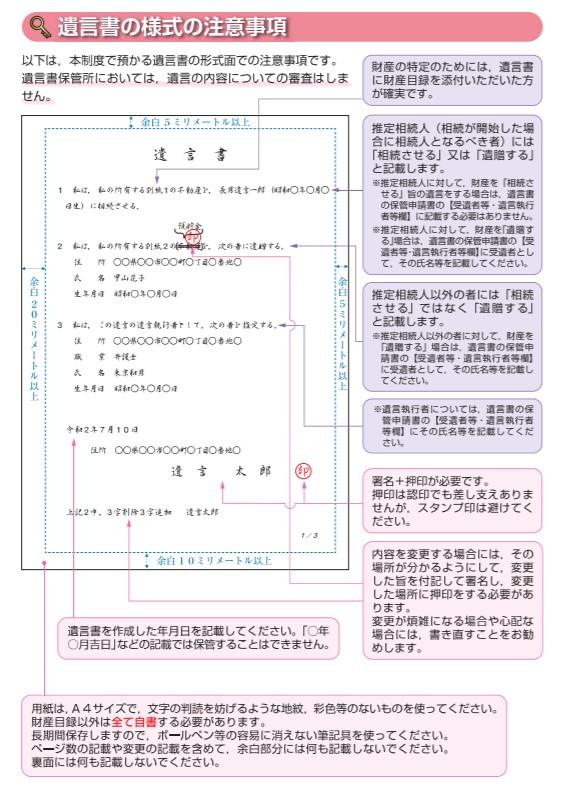 自筆証書遺言書の形式面での注意点