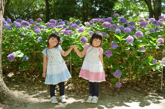 色違いの服を着る双子の女の子