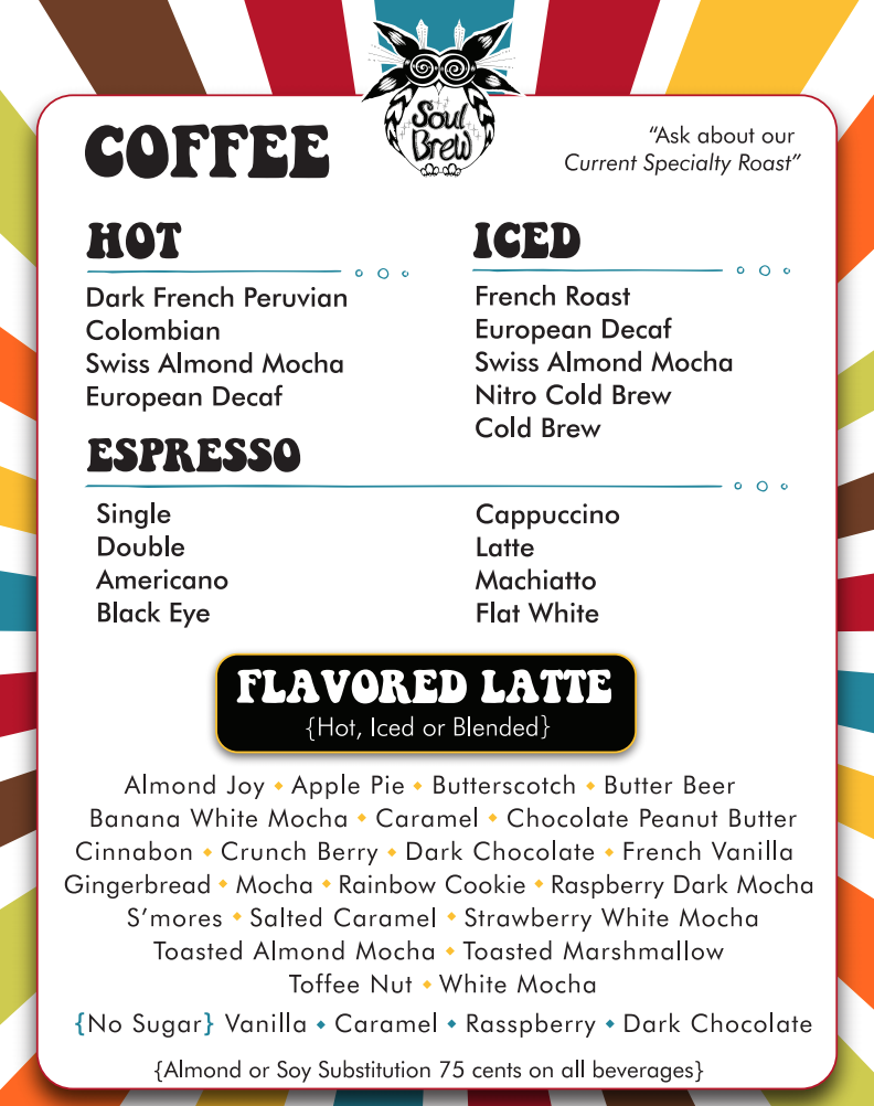 Soul Brew Drink Menu