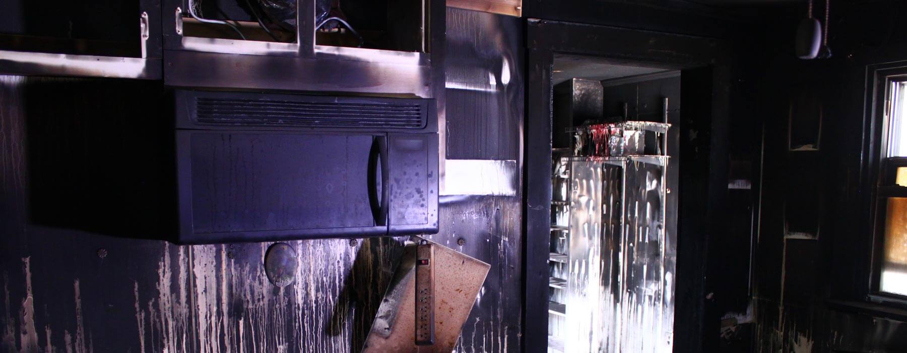 Fire damage restoration kitchen