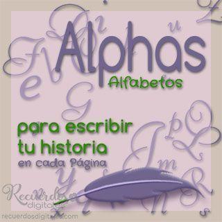 Alpha, alfabeto de caracteres decorados para escribir un Título o texto en tus Páginas de Scrapbooking Digital