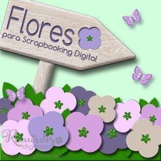 Flores para Scrapbooking Digital. Un Adorno indispensable en tus layouts. Encuentralas en Recuerdos Digitales.
