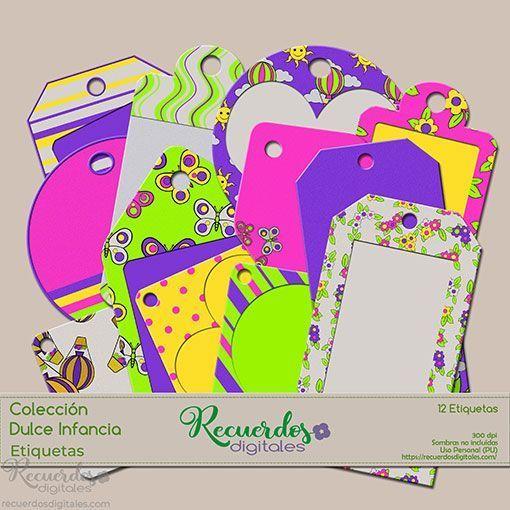 Etiquetas para Scrapbooking Digital, de tema infantil y colores intensos, ideal para las páginas con tus niños.