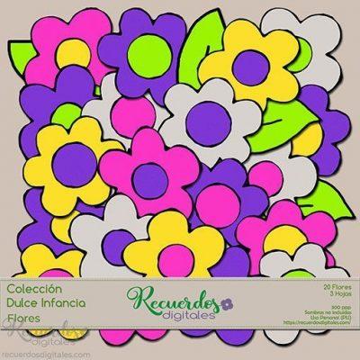 Pack de Flores, Colección Dulce Infancia. Adornos para Scrapbooking Digital de Recuerdos Digitales