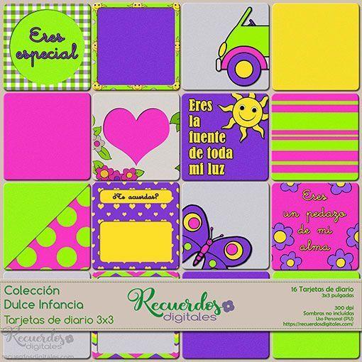 Tarjetas de Diario de 3x3 pulgadas de tema infantil y colores vivos