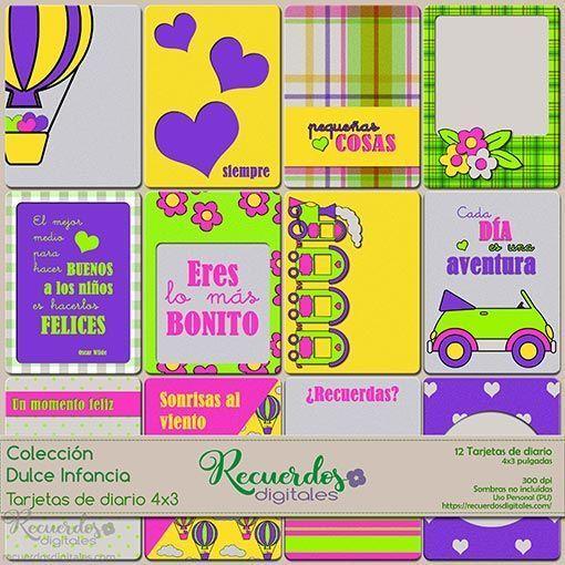 Tarjetas de Diario de 4x3 pulgadas, de temática infantil y colores vivos. Colección Dulce Infancia, de Recuerdos Digitales