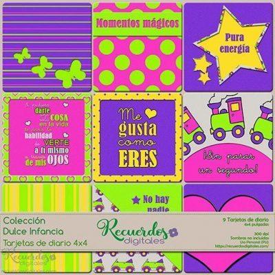 Tarjetas de Diario, 4x4 pulgadas, temática infantil y colores vivos