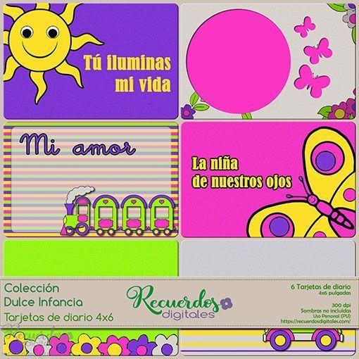 Tarjetas de Diario, 4x6 pulgadas, de temática infantil y colores vivos, estilo Project-Life.