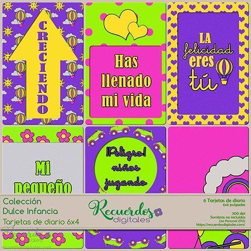Tarjetas de Diario de 6x4 pulgadas, de temática infantil y colores vivos, para scrapbooking digital