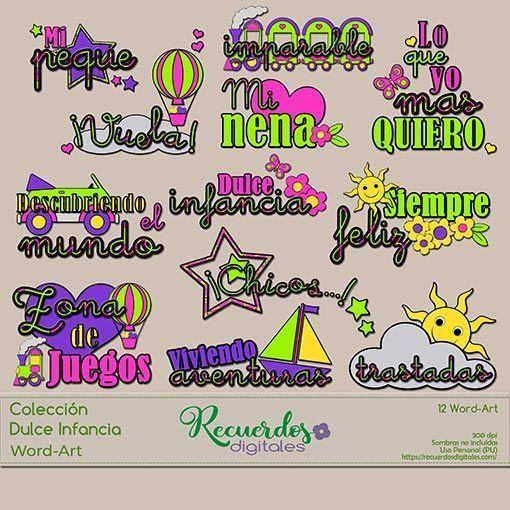 Word-Arts de temática infantil y colores intensos para el título de tus layout
