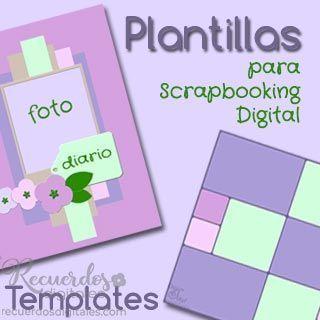 Plantillas de capas, o Templates, para Scrapbooking Digital, de Recuerdos Digitales