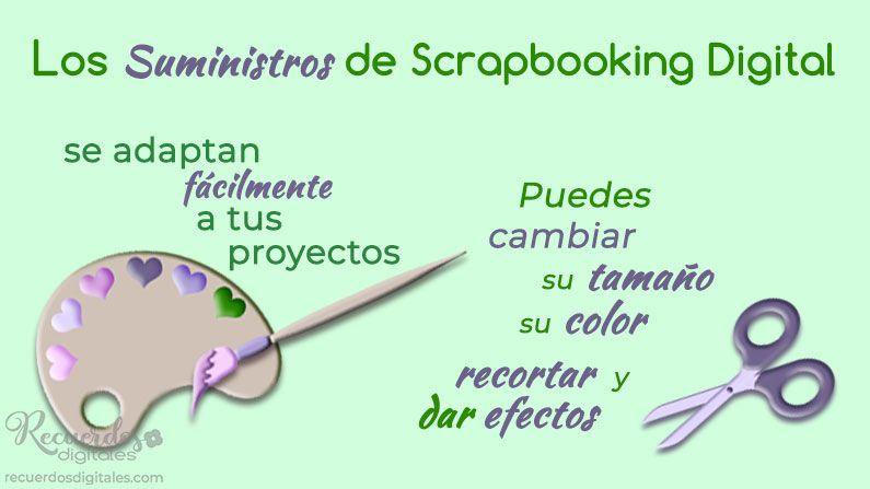 Los Suministros de Scrapbooking Digital se adaptan fácilmente a tus proyectos. Puedes cambiar su tamaño, su color, recortar y dar efectos.