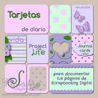 Tarjetas de Diario para Scrapbooking de Bolsillos, Pocket Scrapbooking o Project Life. Descargalas en Recuerdos Digitales.