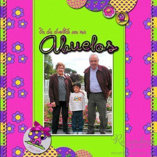 Layout - Un layout con los abuelos como protagonistas- Disposición en Banda, Composición de página de 1 Foto. Utilizando la Colección Dulce-Infancia de Recuerdos Digitales, Scrapbooking Digital