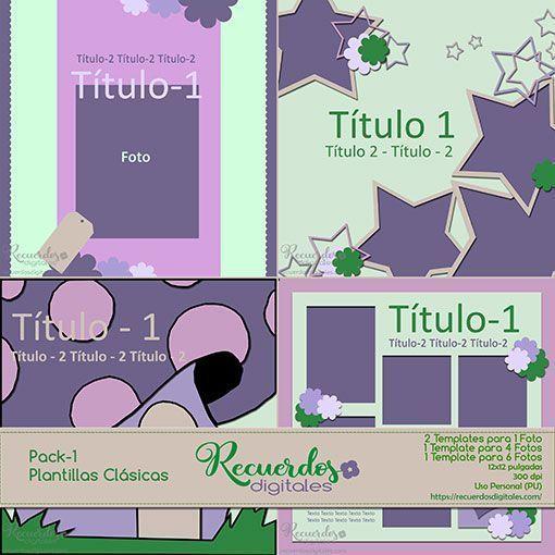 Plantillas clásicas de Scrapbooking Digital. Tamaño 12x12 pulgadas, 4 Plantillas para 1,4 y 6 fotos por página. Recuerdos Digitales