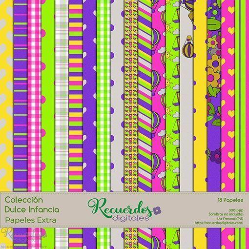 Papeles de tema infantil y colores vivos para scrapbooking digital de la Colección Dulce Infancia, pack extra